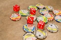 Dados de los símbolos del casino Foto de archivo libre de regalías