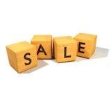 Dados de madeira com venda Imagens de Stock Royalty Free