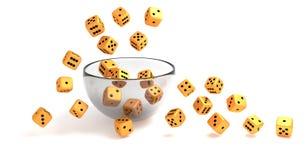 Dados de oro rodantes en el bol de vidrio claro stock de ilustración