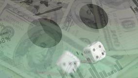 Dados de rolamento no dinheiro, nos gráficos, e nas cartas filme