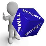 Dados del dinero del tiempo de esfuerzo que representan negocio Foto de archivo libre de regalías