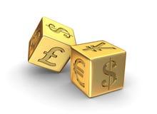 Dados del dinero en circulación de oro Fotografía de archivo