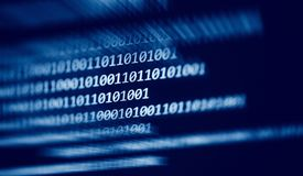 Dados digitais número 0 e 1 do código binário da tecnologia no fundo escuro azul do tela de computador ilustração do vetor