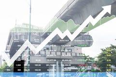 Dados do índice de ações da indústria da construção e do transporte ind Fotos de Stock