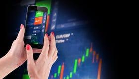 Dados do mercado de valores de ação no azul no conceito da exposição de diodo emissor de luz Fotografia de Stock