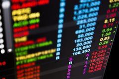 Dados do mercado de valores de ação na maior parte no vermelho Fotos de Stock