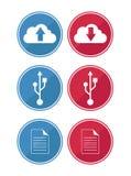 Dados e ícones da nuvem Imagens de Stock