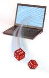 Dados e computador vermelhos Fotografia de Stock Royalty Free