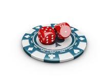 Dados e microplaquetas do conceito do casino ilustração 3D Imagem de Stock Royalty Free