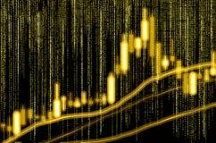 Dados financeiros do mercado de valores de ação Gráfico da vara da vela do mercado de valores de ação Fotografia de Stock