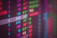 Dados financeiros em um monitor, dados do mercado de valores de ação no engodo da exposição de diodo emissor de luz Fotos de Stock