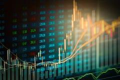 Dados financeiros em um monitor, gráfico da vara da vela do mercado de valores de ação, Foto de Stock