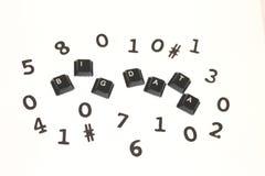 Dados grandes cercados por dígitos aleatórios Imagens de Stock Royalty Free