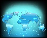 Dados grandes globais da conexão de Internet do mapa do mundo de Wireframe ilustração stock