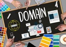 Dados grandes no página da web do DOMÍNIO e no telecomm de SEO, de Internet e de Web Imagens de Stock Royalty Free