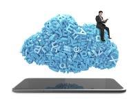 Dados grandes Os caráteres azuis nublam-se a forma Tabuleta esperta Assento do homem de negócios imagem de stock