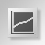 dados Gray Button Icon Concept do quadrado 3D Fotos de Stock