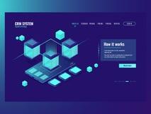Dados móveis, fluxo de dados entrante, centro de dados do base de dados, desenvolvimento do conceito móvel da instalação da aplic ilustração stock