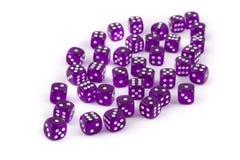 Dados púrpuras en el fondo blanco Imagen de archivo libre de regalías
