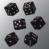 Dados pretos com pontos brancos Foto de Stock Royalty Free