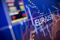 Dados que analisam no mercado de finança estrangeiro: as cartas e as citações Fotos de Stock Royalty Free