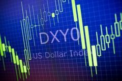 Dados que analisam no mercado estrangeiro: as cartas e as citações deslocam sobre Foto de Stock Royalty Free