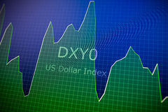 Dados que analisam no mercado estrangeiro: as cartas e as citações deslocam sobre Foto de Stock