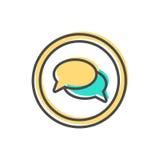 Dados que classificam o ícone com sinal da bolha do discurso Imagens de Stock Royalty Free