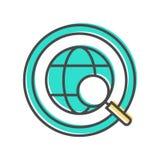 Dados que classificam o ícone com sinal do globo Imagem de Stock Royalty Free