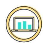 Dados que classificam o ícone com sinal do portátil Fotos de Stock Royalty Free