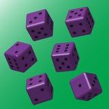 Dados roxos com pontos pretos Foto de Stock