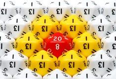 Dados tomados o partido do vermelho vinte Foto de Stock Royalty Free