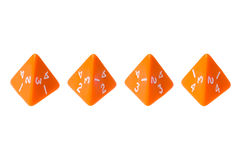 Dados tomados partido da laranja quatro para jogos de mesa Imagens de Stock