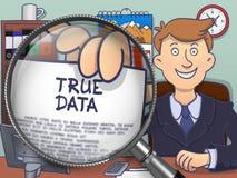 Dados verdadeiros através da lente Conceito da garatuja ilustração do vetor