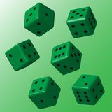 Dados verdes com pontos pretos Foto de Stock