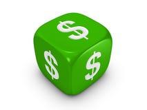 Dados verdes con la muestra de dólar Imágenes de archivo libres de regalías