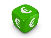 Dados verdes con la muestra euro Fotografía de archivo libre de regalías