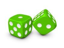 Dados verdes en el fondo blanco Imagen de archivo libre de regalías
