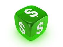 Dados verdes translúcidos con la muestra de dólar Foto de archivo libre de regalías