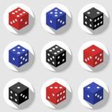 Dados vermelhos, azuis e pretos do casino em um fundo branco Foto de Stock Royalty Free
