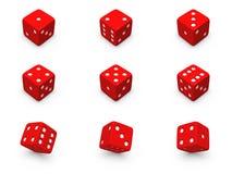 Dados vermelhos dos ângulos diferentes Fotos de Stock