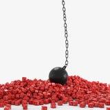 Dados y bola del arruinamiento Foto de archivo libre de regalías