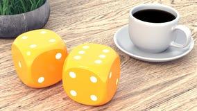 Dados y una taza de café en una tabla de madera 3d rinden ilustración del vector