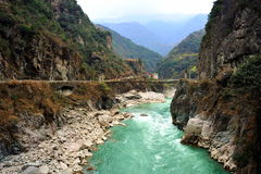 Dadu River. Majority of section of river traversing in remote mountain canyon Stock Images