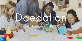Daedalian Crafty Intelligent Artistic Smart Concept Stock Images