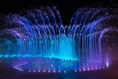 Daedepo Musical Fountain Korea, colorful fountain like a crown. Daedepo Musical Fountain near busan with colour musical water display with blue and white against Royalty Free Stock Photography