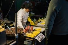 Daegu Seomun Market Fruit Seller royalty free stock image