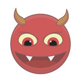 Daemon. Angry and aggressive demon red color on a white background Stock Images