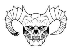 Daemon head. Evil creepy black daemon head  on white background Stock Images