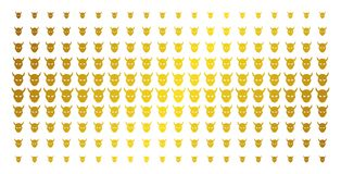 Daemon Head Golden Halftone Pattern. Daemon head icon gold colored halftone pattern. Vector daemon head items are arranged into halftone matrix with inclined vector illustration